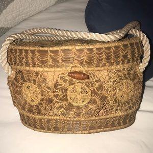 OOAK ! Vintage Oval Wicker Woven Purse - Lined